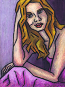 Female Pastels Originals - Contemplation by Kamil Swiatek