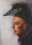 Emu Paintings - Contemplation by Leah Saulnier The Painting Maniac