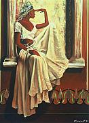 African American Women Paintings - Contemplation by Lee Ransaw