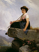 Heidi Painting Posters - Contemplation Poster by Robert Julius Beyschlag