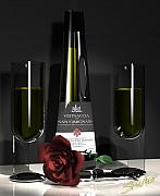 Drink Digital Art Originals - Contempoary Wine and Roses by Stuart Stone