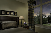Bedside Table Posters - Contemporary Bedroom With Window Poster by Robert Pisano