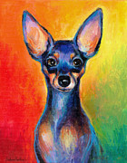 Chihuahua Colorful Art Prints - Contemporary colorful Chihuahua chiuaua painting Print by Svetlana Novikova