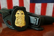 Police Metal Prints - Contemporary Fbi Badge And Gun Metal Print by Everett