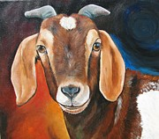 Sheep Farm Prints - Contemporary Goat Print by Laura Carey