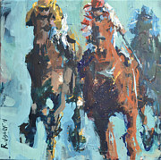 Abstract Horse Prints - Contemporary Horse Racing Painting Print by Robert Joyner
