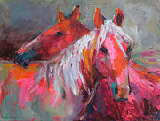 Red Prints Drawings Framed Prints - Contemporary Horses painting Framed Print by Svetlana Novikova