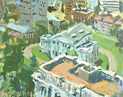2011 Painting Prints - Contemporary Richmond Virginia Cityscape Painting Featuring Virginia State Capitol Building Print by Robert Joyner