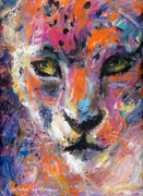 Cat Art Drawings - contemporary Wildlife painting cheetah leopard  by Svetlana Novikova