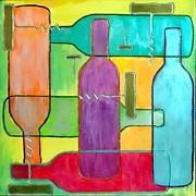 Wine Bottle Mixed Media Framed Prints - Contemporary Wine Bottles Framed Print by Char Swift
