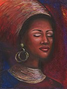 African-american Pastels - Contentment by Alga Washington