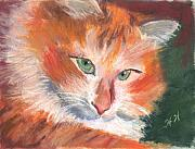 Cat Pastels - Contentment by Helen Hammerman