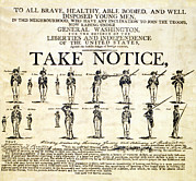 Period Clothing Photo Prints - Continental Army Recruitment Broadside Print by Everett