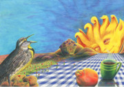 Tangerine Drawings - Continental Breakfast by Bon Vernarelli