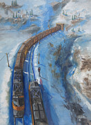 Railroad Snow Paintings - Continetal  Divide by Christopher Jenkins