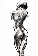 Charcoal Drawings Posters - Contra Posta Female Nude Poster by Roz McQuillan