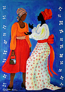 Gullah Art Framed Prints - Conversation Framed Print by Diane Britton Dunham