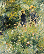 Woman In Hat Posters - Conversation in a Rose Garden Poster by Pierre Auguste Renoir