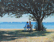 Quietude Paintings - Conversation in the Park by Tommy Midyette