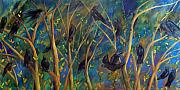 Crows Paintings - Conversations in the Autumn Sky by Tammy Watt