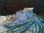 Basketball Sports Pastels Prints - Converse-a-tion Print by Susan Davies