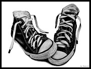 Cool Drawings Prints - Converse Print by Kalie Hoodhood