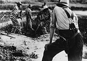 Re-enslavement Prints - Convict Chain Gang And Prison Guard Print by Everett