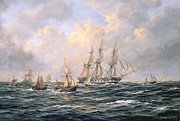 Fishing Boats Prints - Convoy of East Indiamen amid Fishing Boats Print by Richard Willis