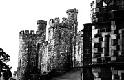 Conway Framed Prints - Conway Castle in black and white Framed Print by Georgia Fowler