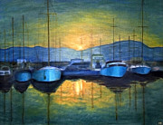 Boats Paintings - Conway Harbour Sunset by Ronald Haber