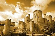 Conwy Posters - Conwy Castle And The Telford Suspension Bridge North Wales Poster by Mal Bray