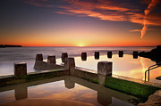 Reflection Prints - Coogee Beach At Early Morning,sydney Print by Noval Nugraha Photography. All rights reserved.