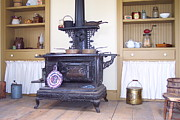 Antique Wood Burning Stove Posters - Cook Stove Poster by Nancy Patterson