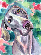Weimaraner Posters - Cookie - Weimaraner Dog Poster by Lyn Cook