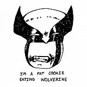 Comic Drawings Posters - Cookie Loving Wolverine Poster by Karl Addison