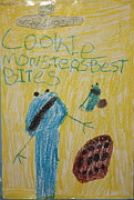 Cookie Drawings Prints - Cookie Monster Print by Rosa Shannon