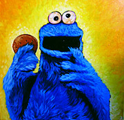 Monster Drawings Posters - Cookie Monster Poster by Steve Hunter