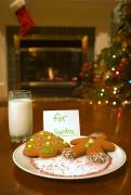 Santa Claus Posters - Cookies For Santa Claus Poster by Carson Ganci