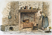 Domestic Interior Posters - Cooking At The Hearth Poster by Granger