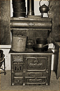 Antique Wood Burning Stove Posters - Cooking at The Old Jail Poster by DigiArt Diaries by Vicky Browning
