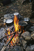 Fires Photos - Cooking Over A Campfire On The Middle by Skip Brown