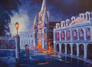 Louis Paintings - Cool Blue Jackson Square by Elaine Cummins