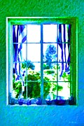 Glass Wall Digital Art - Cool Blue Window by Brian D Meredith