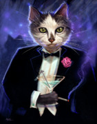 Tuxedo Metal Prints - Cool cat Metal Print by Jeff Haynie