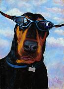 Dog Portrait Pastels - Cool Dob by Billie Colson