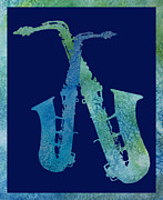 Saxes Prints - Cool Jazzy Duet Print by Jenny Armitage