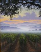 Napa Valley Vineyard Paintings - Cool Morning Mist by Patrick ORourke