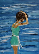 Lady In Lake Painting Posters - Cool Ocean Breeze Poster by Leslie Allen