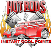Ford Street Rod Posters - Cool Points Poster by Lyle Brown
