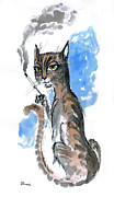 Cats Drawings Originals - Cool Pussycat by Angel  Tarantella